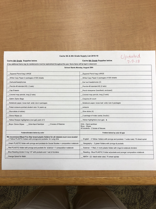 5th and 6th grade supply list
