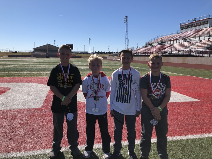 5th Grade Runners. 1st place Gunner Tate, 2nd place Zac Abbott, 3rd place Jace Smedley, and Case Hardzog tied with all three for the most laps