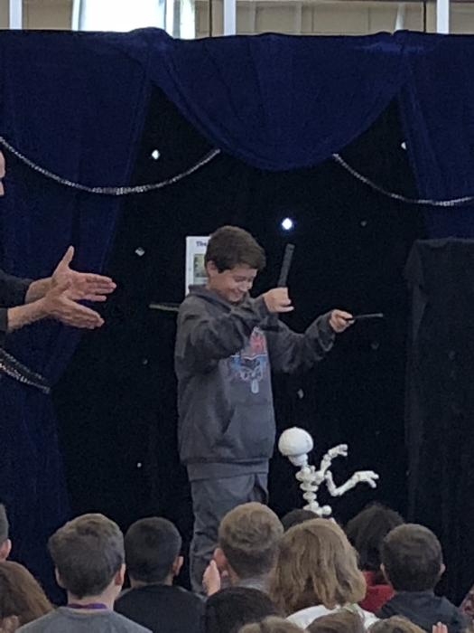 Carson demonstrated the art of puppetry.