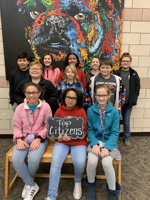 Congratulations to our top Citizens of the week. James Carter, McKinley Chandler, Tiffany Daly, Conner Hance, Jaylee Abraham, Harvey Ashworth, Merrick Bolding, Christian Archey, Jada Ford-Copeland, Haidon Lucus, and Maggie Gladwell.