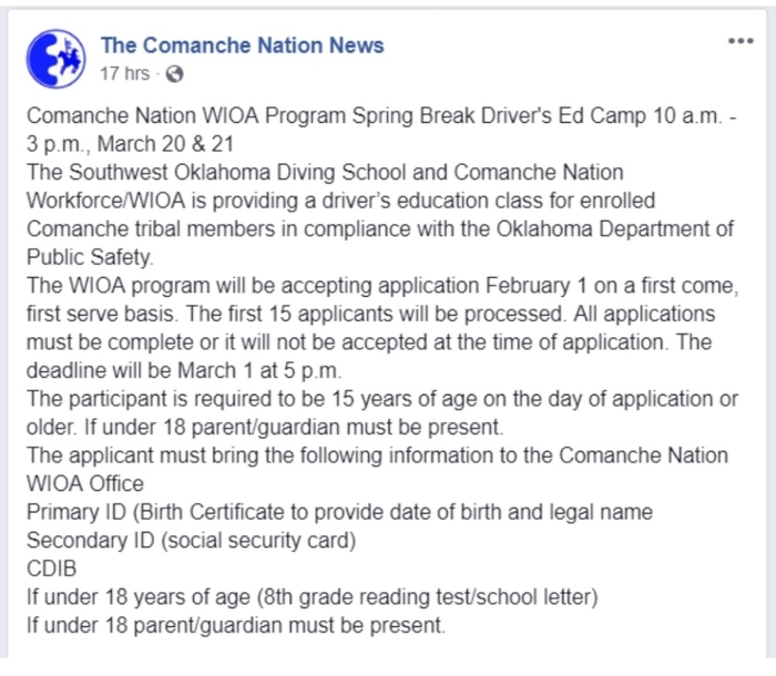 Comanche Nation Dtivers Es