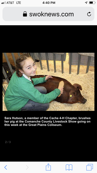 Sara Hutson with her 4H project at the Comanche County Livestock Show.