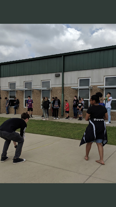 HS Science students work with 5th grades on trajectory and stomp rockets!