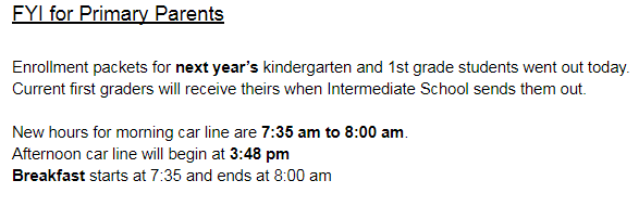 FYI for Primary Parents